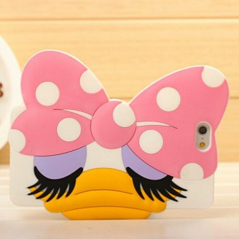 Cute Unique Daisy Duck Pink Bow 3D Face For IPhone 6 And Plus