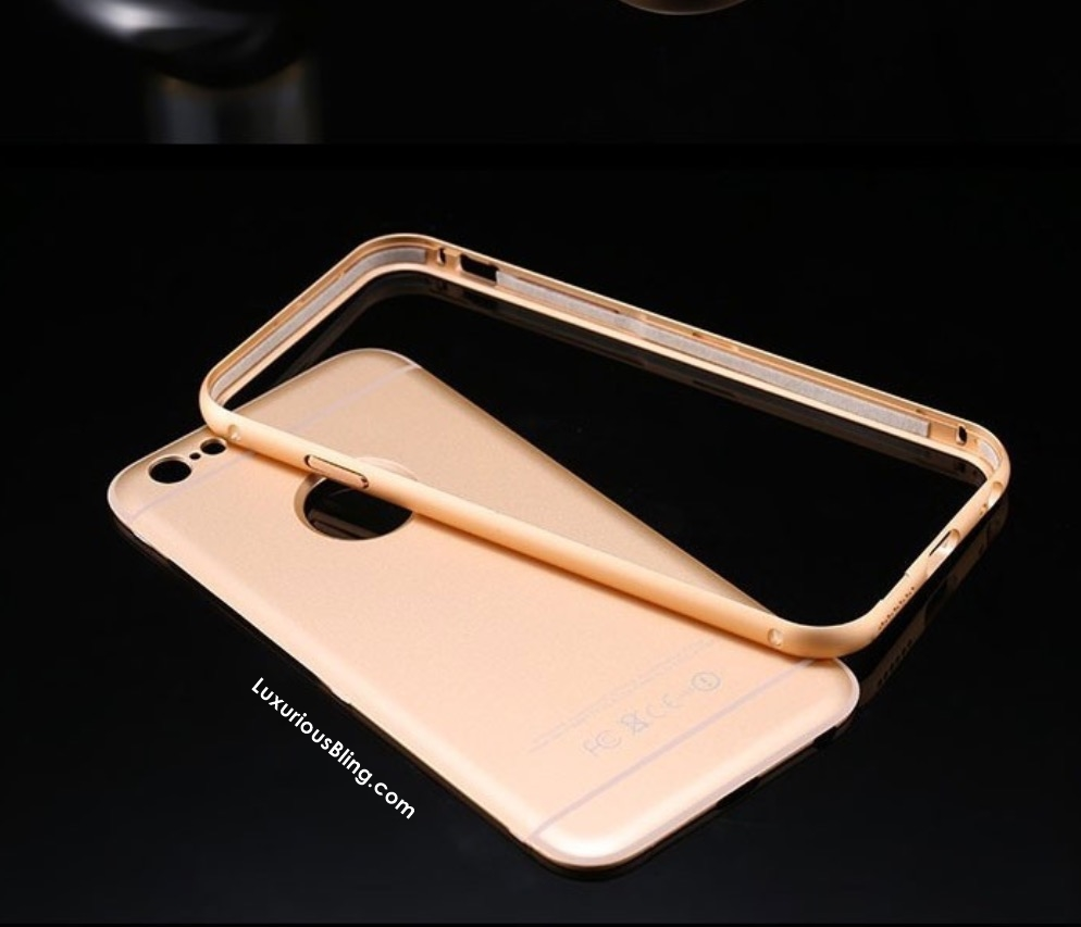 Gold iPhone Case with Metal Frame and removable Bevel Back for ...