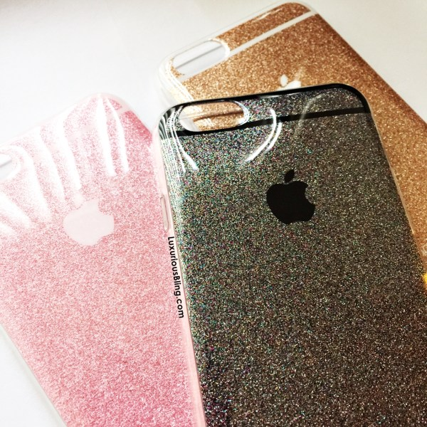 glitter iphone case grey pink gold