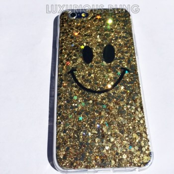 GOLD Sparkly Glitter Smiley Face iPhone 6 Case 2