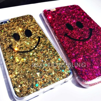GOLD and PINK Sparkly Glitter Smiley Face iPhone 6 Case 3