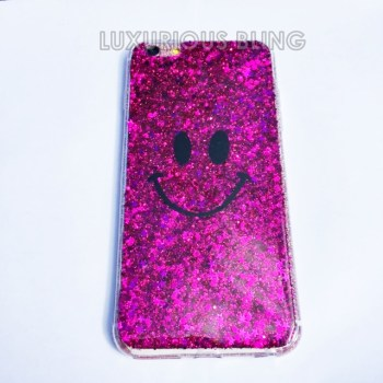 PINK Sparkly Glitter Smiley Face iPhone 6 Case 1