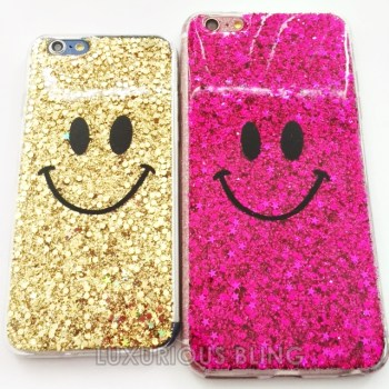 PINK and GOLD Sparkly Glitter Smiley Face iPhone 6 Case 2
