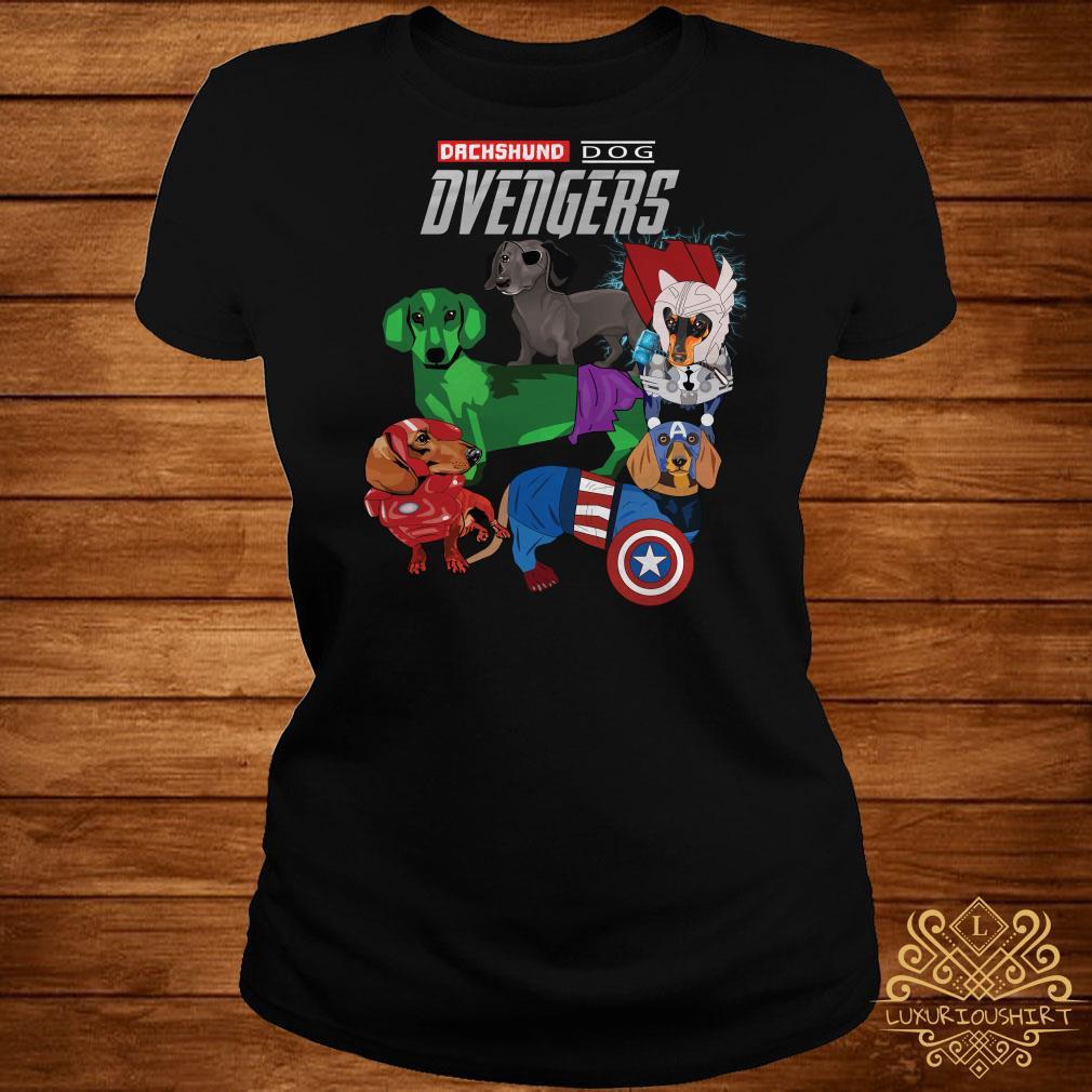 Dvengers Dachshund dog Avengers ladies tee