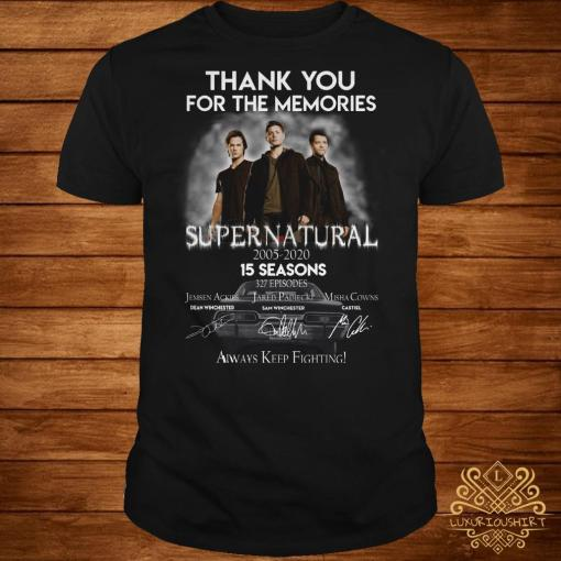 Thank you for the memories supernatural 15 seasons all signature shirt