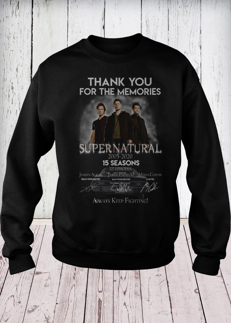 Thank you for the memories supernatural 15 seasons all signature sweater