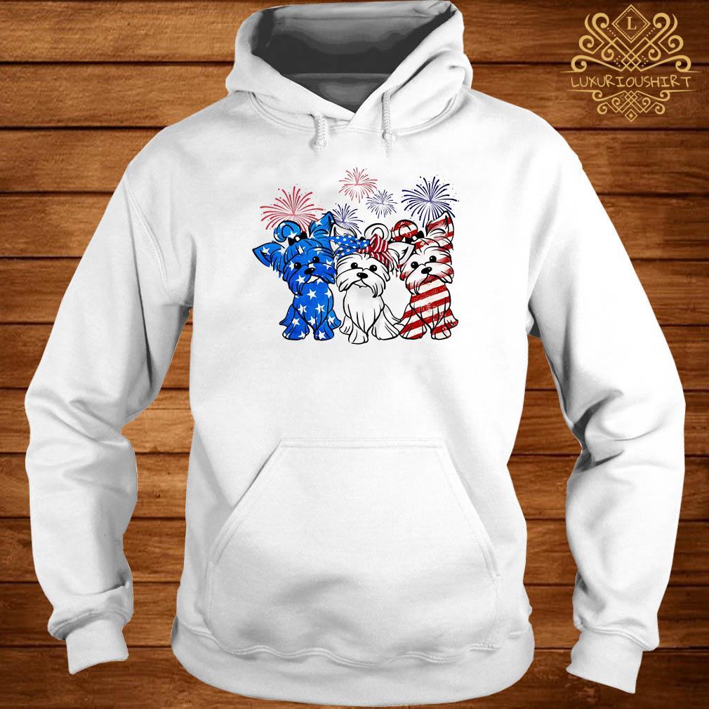 Firework Yorkshire terrier American flag hoodie