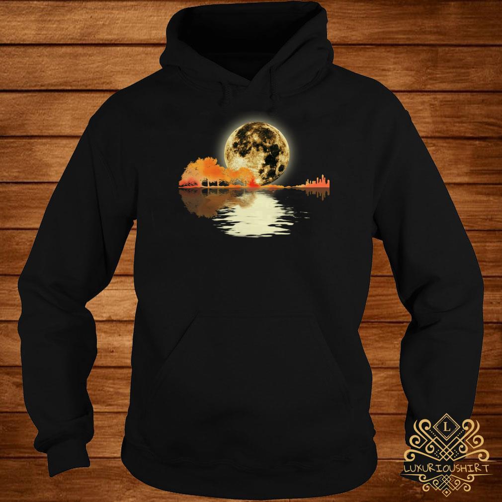 Guitar and moon I love guitar lake shadow hoodie
