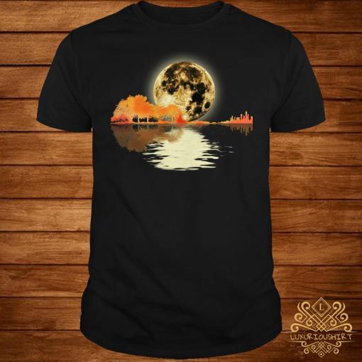 Guitar and moon I love guitar lake shadow shirt