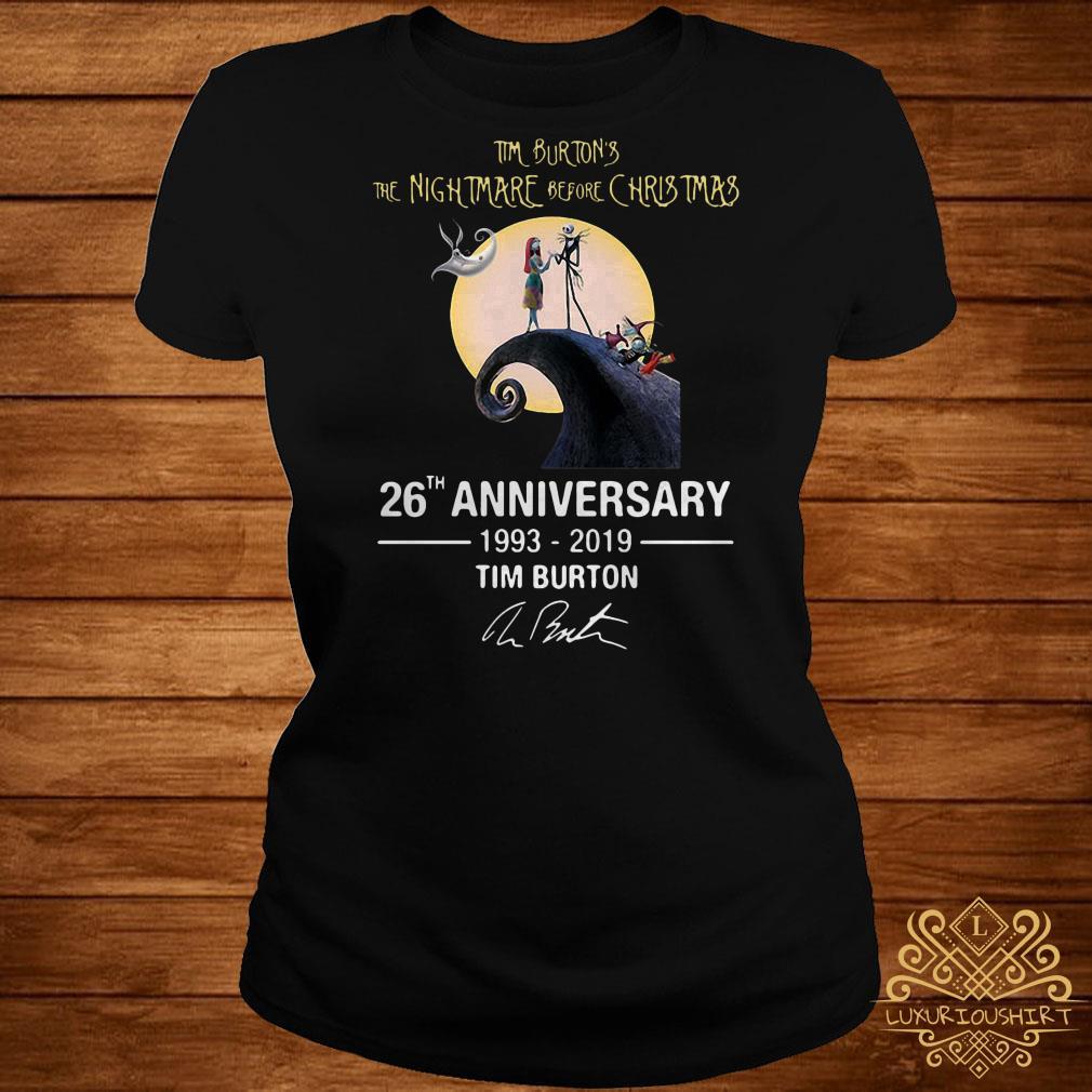 b7549ece Tim Burton's the nightmare before christmas 26th anniversary 1993-2019 Tim  Burton ladies tee