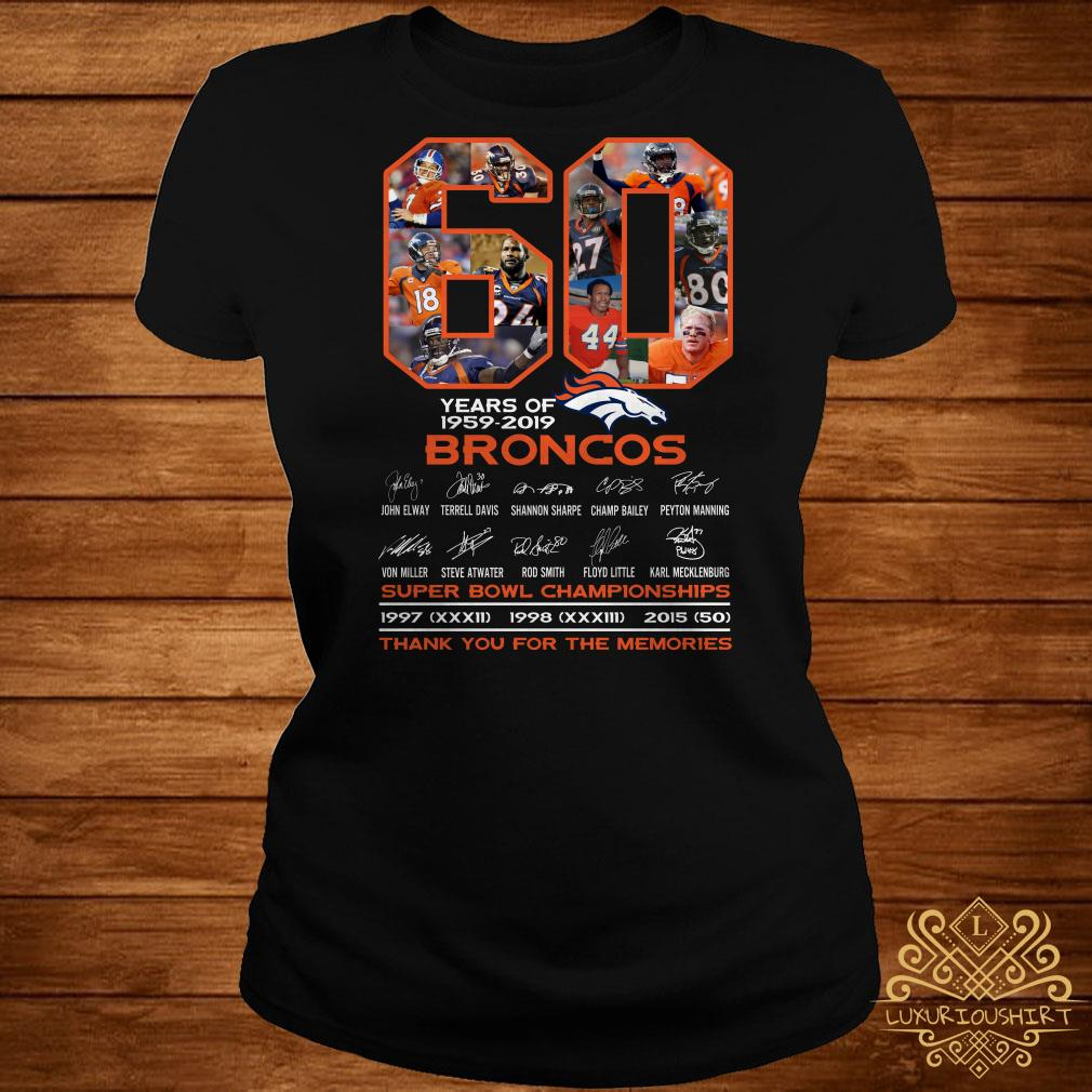 60 years of 1959-2019 Broncos super bowl Championships thank you for the memories ladies tee