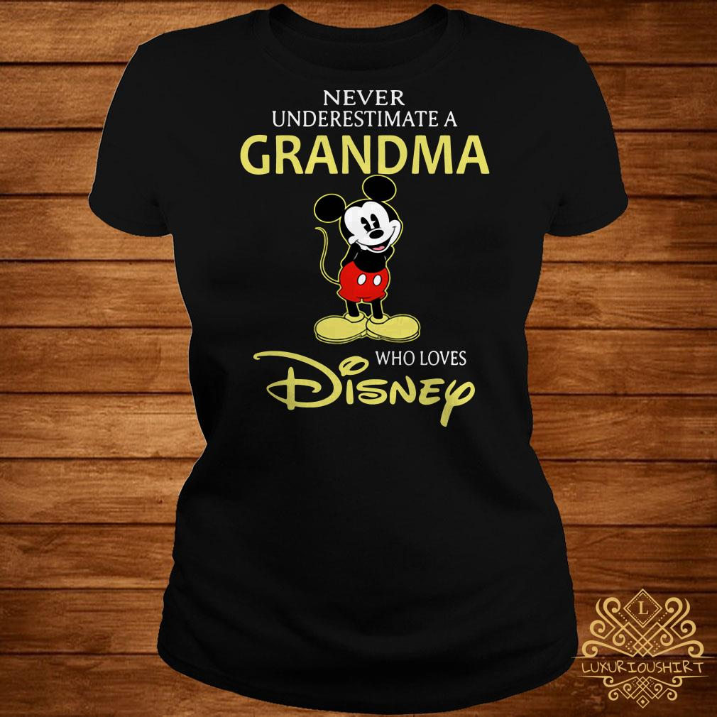 Mickey Mouse never underestimate a grandma who loves Disney ladies tee