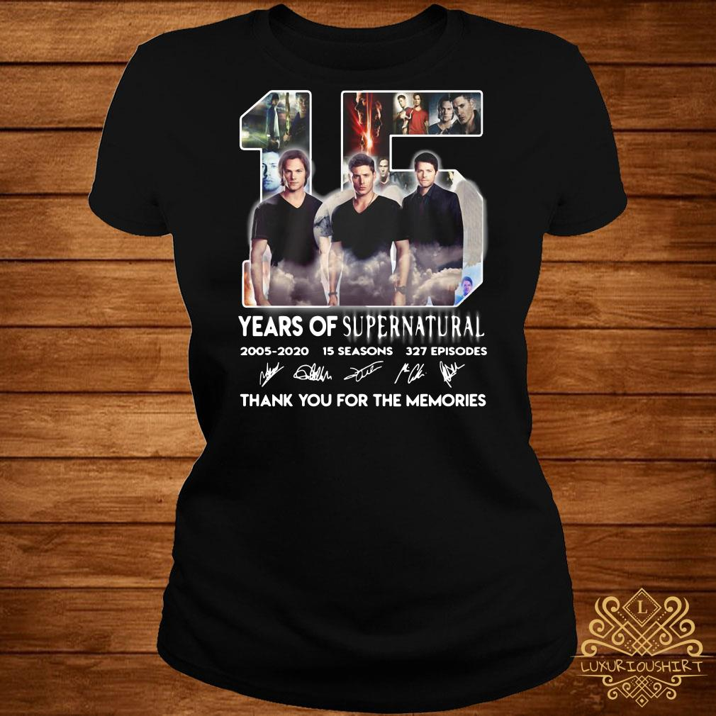 15 years of supernatural thank you for the memories ladies tee