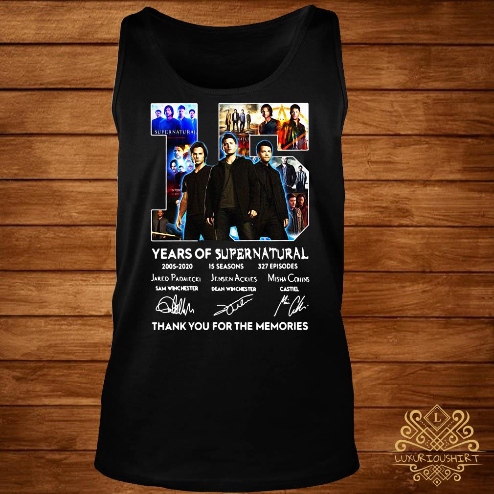 15 years of Supernatural thank you for the memories signatures tank-top
