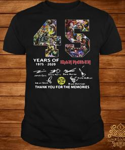 45 Years of Iron Maiden thank you the memories signatures shirt