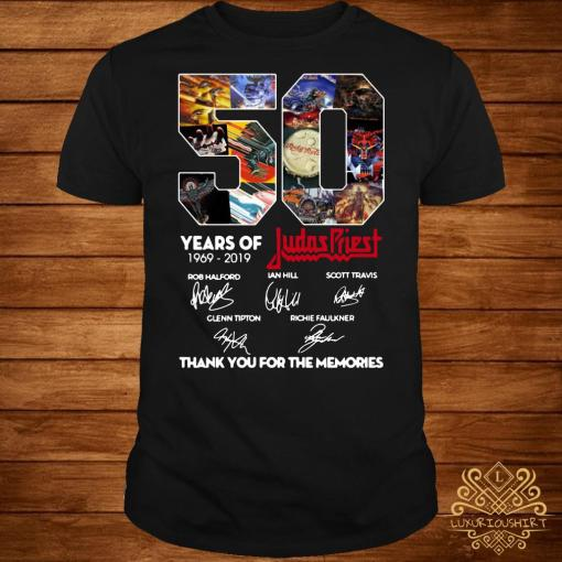 50 Years of Judas Priest 1969-2019 thank you for the memories signature shirt