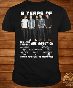 9 Years of One Direction thank you for the memories shirt