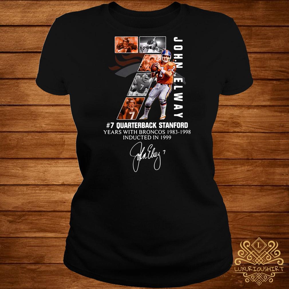 7 John Elway Quarterback Stanford years with Broncos 1983-1998-Recovered ladies tee