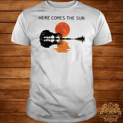 Sunset Guitar lake Here comes the sun shirtSunset Guitar lake Here comes the sun shirt