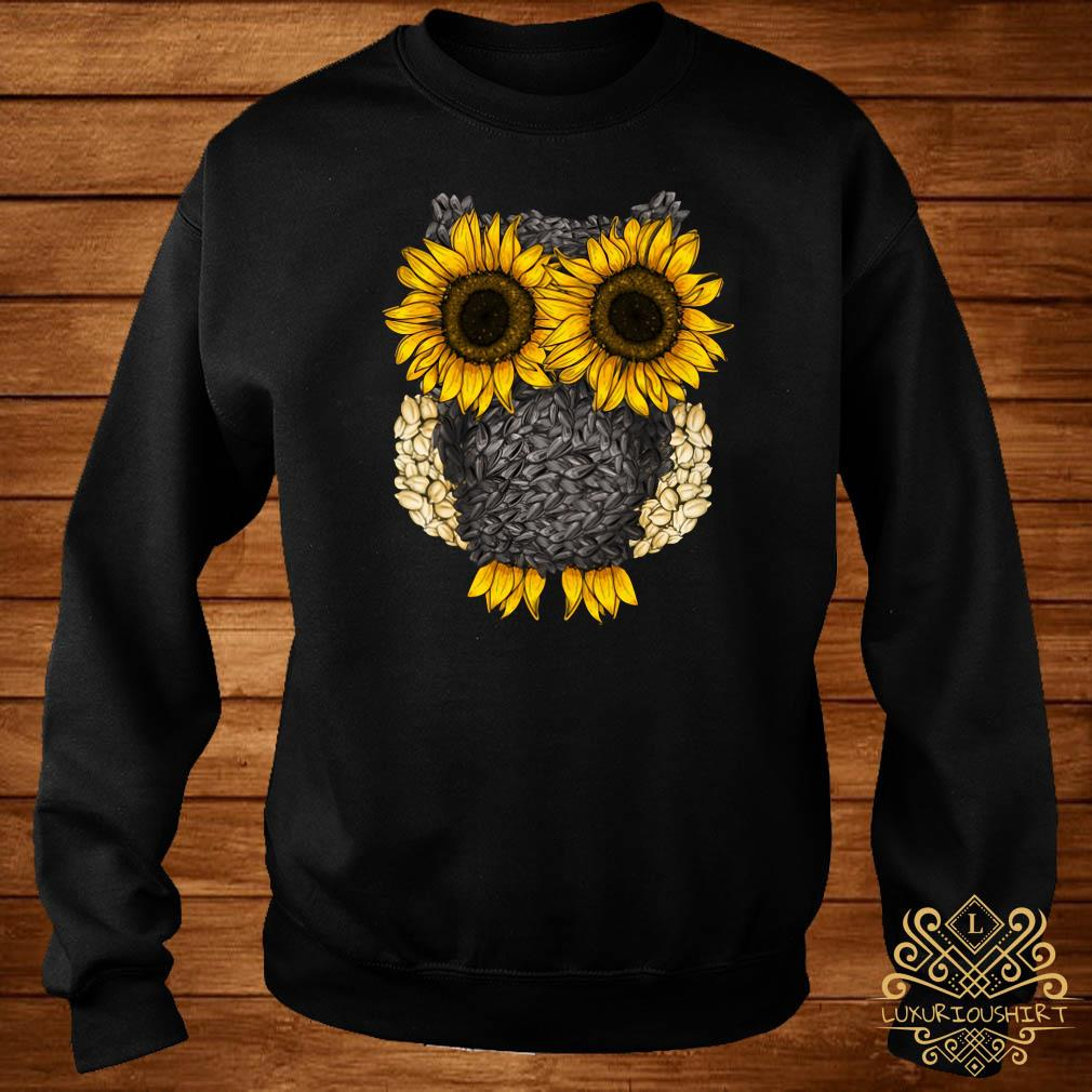 Owl by sunflower and seed sweater