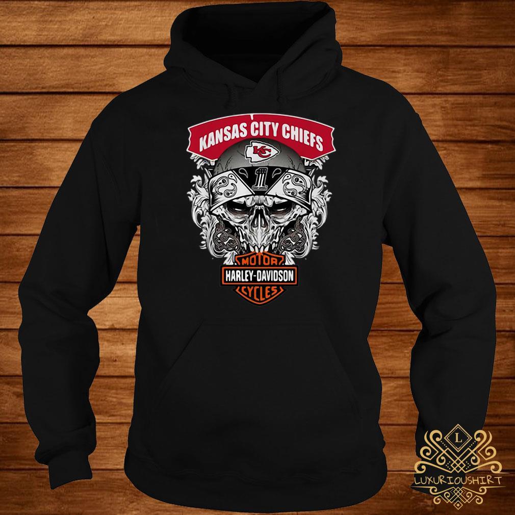 Skull Kansas City Chiefs Harley-Davidson motorcycles hoodie