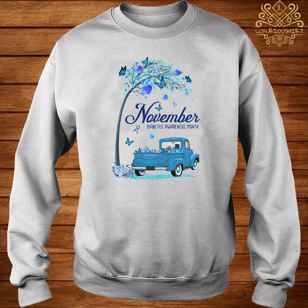 November Diabetes month blue truck sweater