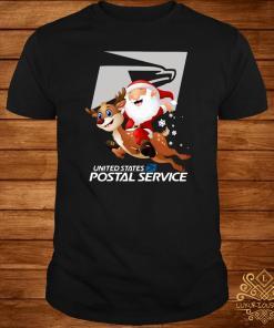 Santa Claus riding reindeer United States postal service shirt