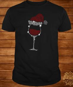 Diamond Wine Glasses Santa Hat Christmas Shirt