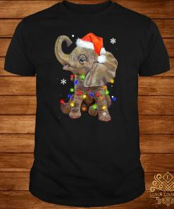 Elephant Santa Christmas Light Shirt