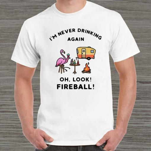 Flamingos I'm Never Drinking Again Oh Look Fireball Unisex