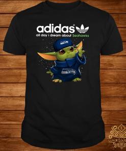 Baby Yoda Adidas All Day I Dream About Seahawks Shirt
