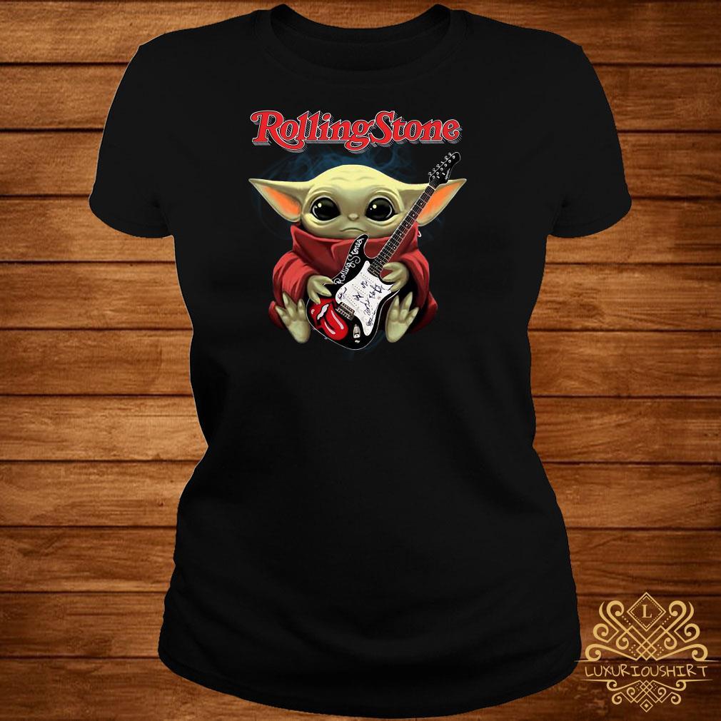 Baby Yoda Hug Rolling Stone Guitar Ladies Tee