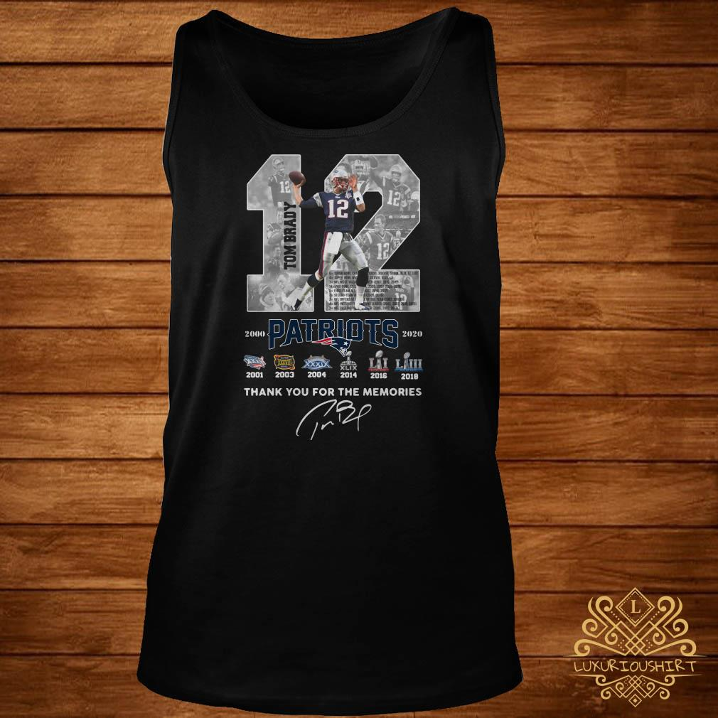 12 Tom Brady Patriots 2000 2020 Thank You For The Memories Signature tank-top
