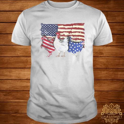 Chicken Flag USA American Flag Veteran Shirt