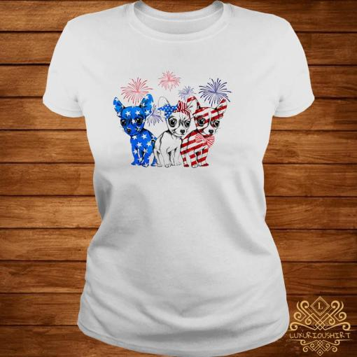 Chihuahua Blue White And Red American Flag Shirt ladies-tee