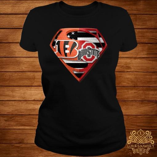 Ohio State Buckeyes And Cincinnati Bengals Superman Shirt ladies-tee