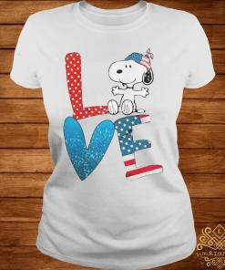 Snoopy Love American 4th Of July Shirt ladies-tee
