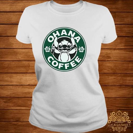 Stitch Ohana Coffee Shirt ladies-tee