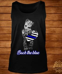 Baby Groot Hug Heart American Flag Back The Blue Shirt tank-top