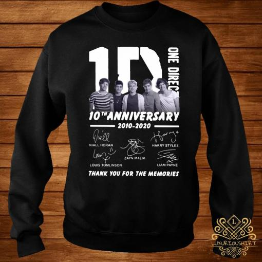 1D One Direction 10th Anniversary 2010 2020 Thank You For The Memories Shirt sweater