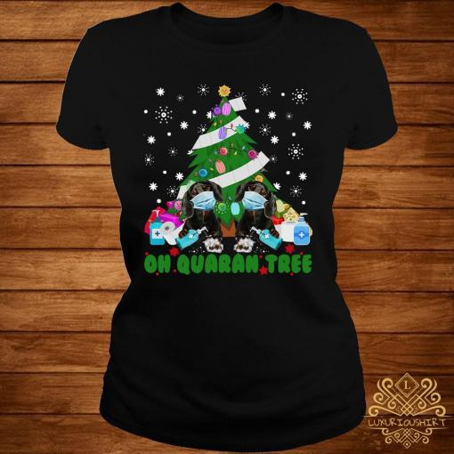 Daschund Oh Quaran Tree Shirt ladies-tee