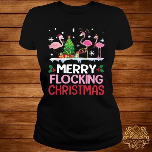 Flamingo Merry Flocking Christmas Shirt ladies-tee