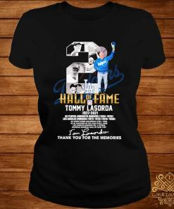 2 Hall Of Fame Tommy Lasorda 1927 2021 Thank You For The Memories Signature Shirt ladies-tee