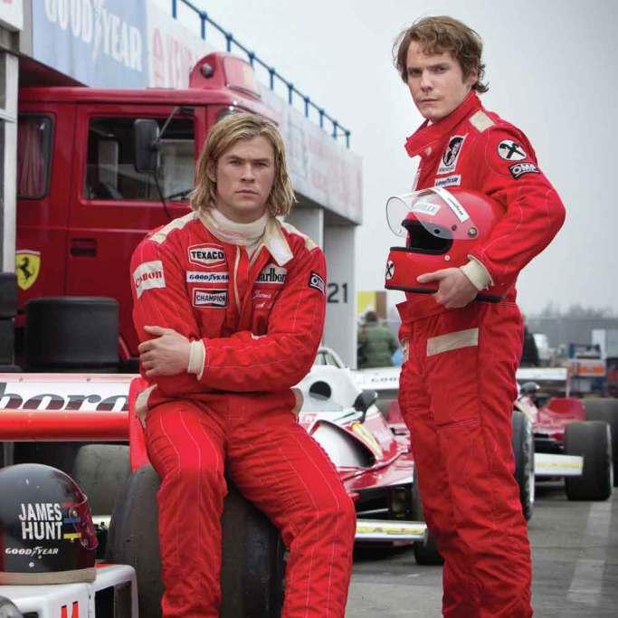 I den anmelderoste film 'Rush' af Ron Howard ses Chris Hemsworth i rollen som James Hunt, der kæmpede mod Niki Lauda (Daniel Brühl).