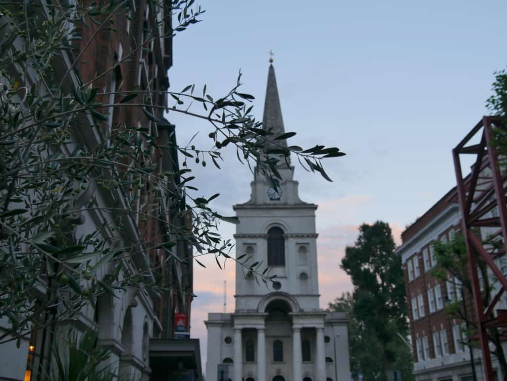 Spitalfields church sunset