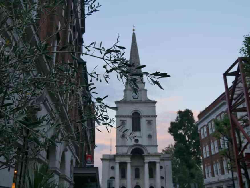 Spitalfields church sunset