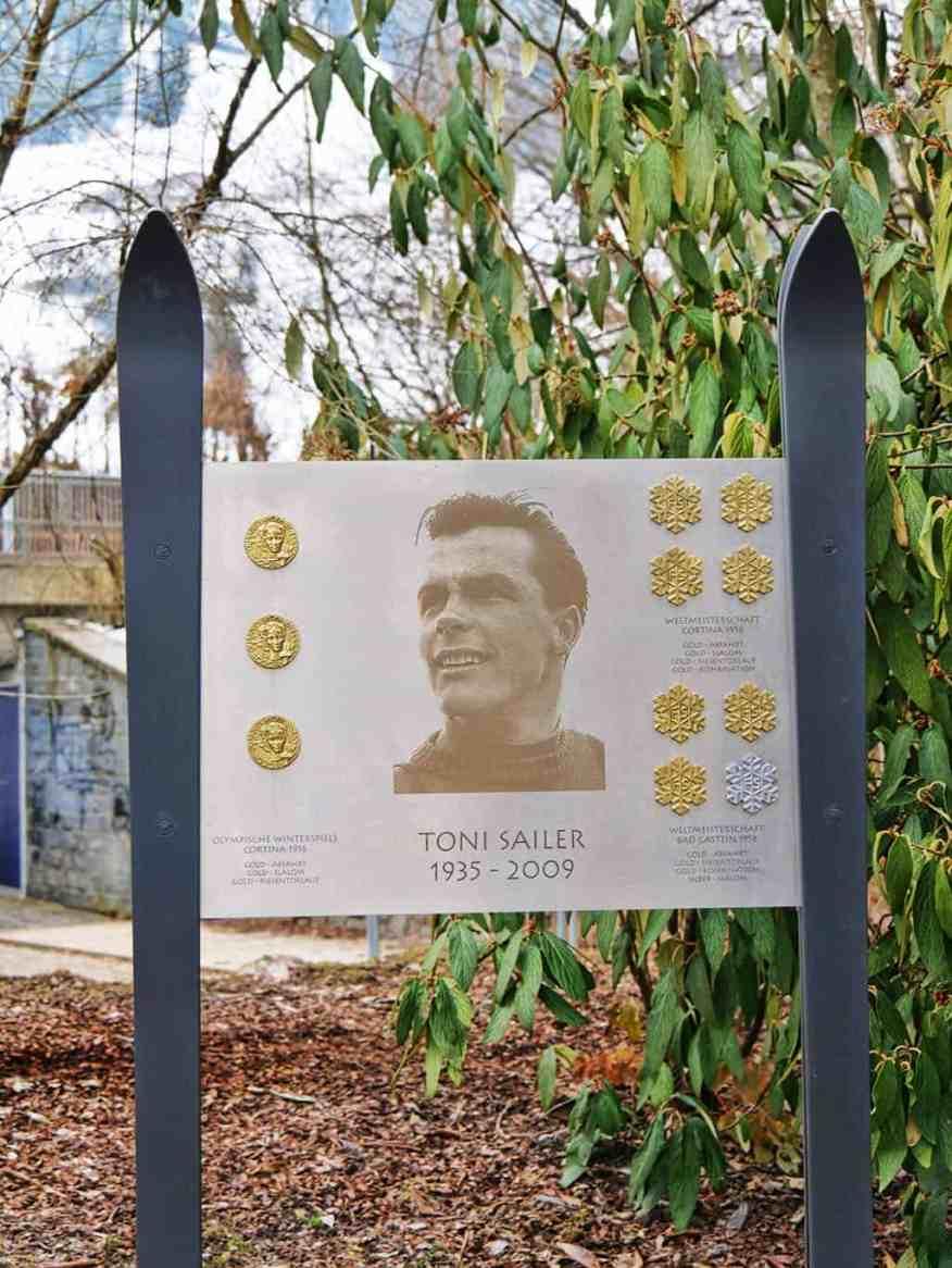 A memorial to Toni Sailer, Olympic ski champion, in Kitzbuehel, Austria