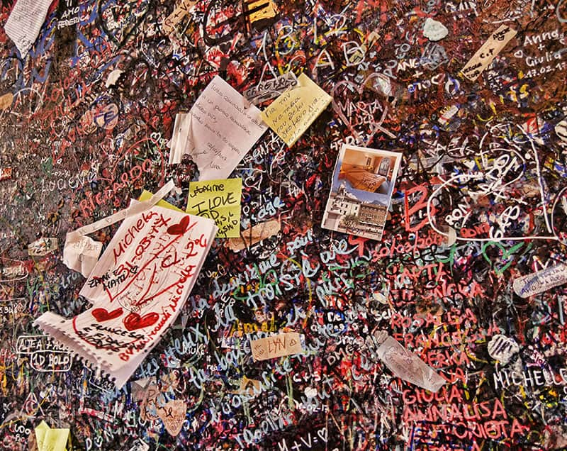 Love notes left by the public at Juliet's House in Verona, Italy