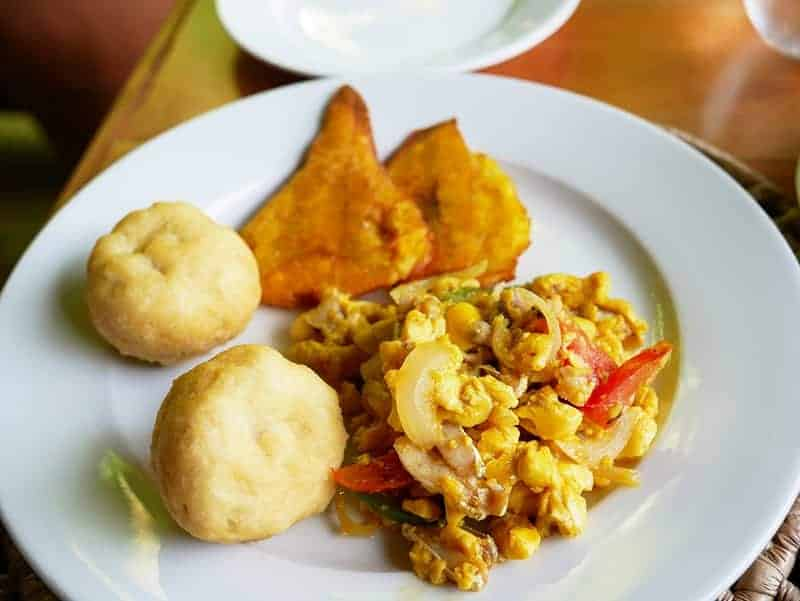 Ackee - the national dish of Jamaica with salt fish and dumplings