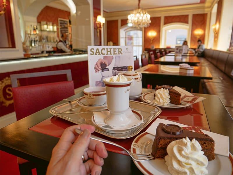 Cafe Sacher for Sacher Torte cake in Innsbruck, Austria